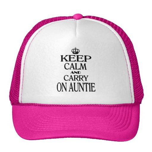 Mantenga tranquilo y continúe a la tía gorros bordados