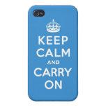 Mantenga tranquilo y continúe a reyes Blue iPhone 4 Funda