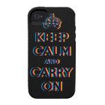 mantenga tranquilo y continúe CMYK iPhone 4/4S Carcasas