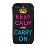 mantenga tranquilo y continúe CMYK iPhone 4/4S Fundas