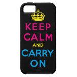 mantenga tranquilo y continúe CMYK iPhone 5 Fundas