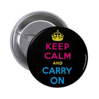 mantenga tranquilo y continúe CMYK Pins