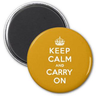 Mantenga tranquilo y continúe el amarillo de Nápol Imán Redondo 5 Cm