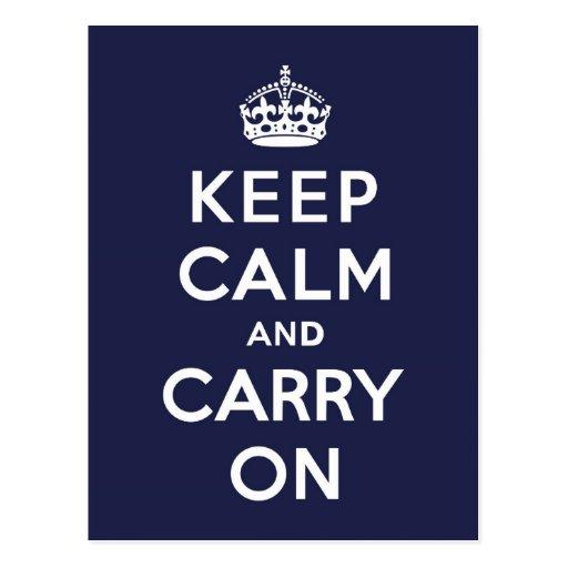 Mantenga tranquilo y continúe el azul de Phthalo Tarjeta Postal