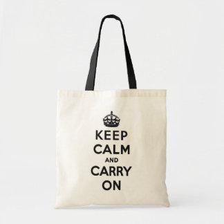 Mantenga tranquilo y continúe el bolso bolsa de mano