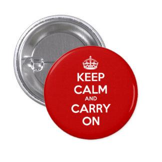 Mantenga tranquilo y continúe el botón del círculo pin redondo de 1 pulgada