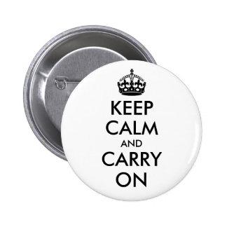 Mantenga tranquilo y continúe el botón pins
