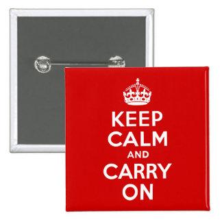 Mantenga tranquilo y continúe el botón pin cuadrado