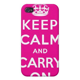 Mantenga tranquilo y continúe el caso rosado del i iPhone 4 protectores