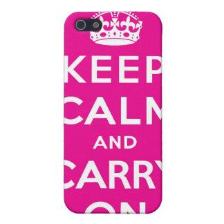 Mantenga tranquilo y continúe el caso rosado del i iPhone 5 carcasa