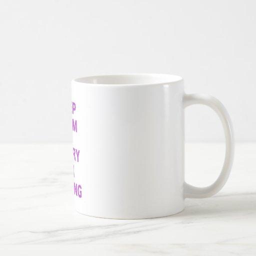 Mantenga tranquilo y continúe el cocer taza básica blanca