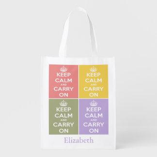 Mantenga tranquilo y continúe el collage bolsas reutilizables