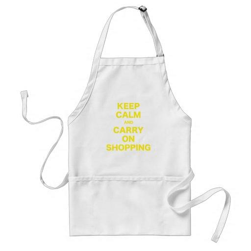 Mantenga tranquilo y continúe el hacer compras delantal