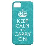 Mantenga tranquilo y continúe el iPhone del damasc iPhone 5 Case-Mate Funda