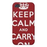Mantenga tranquilo y continúe el marrón del caso d iPhone 4 fundas
