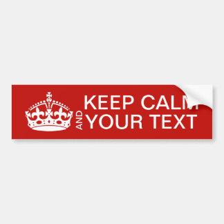 Mantenga tranquilo y continúe el personalizable pegatina para auto