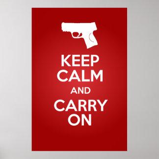 Mantenga tranquilo y continúe el poster de las arm