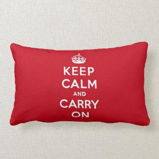 Mantenga tranquilo y continúe el rojo de Londres Almohadas