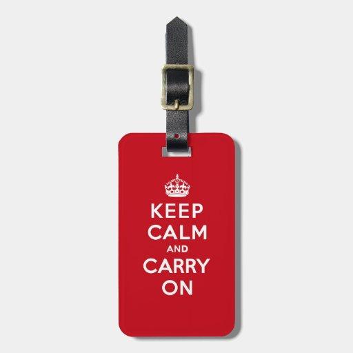 Mantenga tranquilo y continúe el rojo de Londres Etiquetas Bolsa