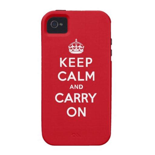 Mantenga tranquilo y continúe el rojo de Londres iPhone 4 Carcasa