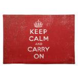 Mantenga tranquilo y continúe el rojo del vintage manteles individuales
