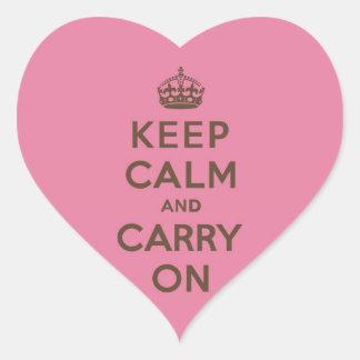 Mantenga tranquilo y continúe el rosa de la fresa pegatina en forma de corazón