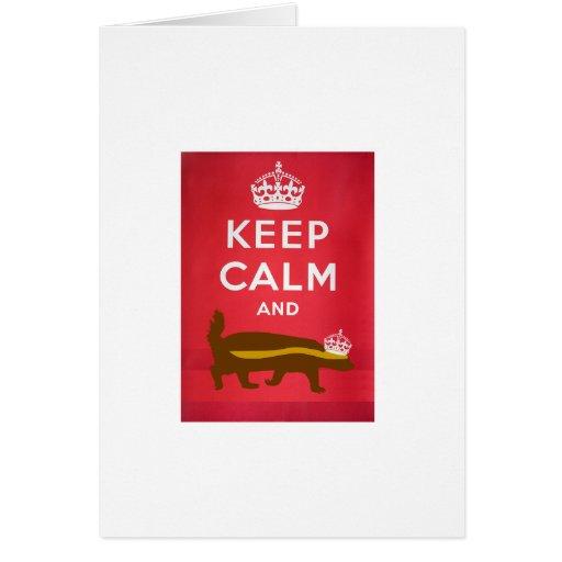 Mantenga tranquilo y continúe el tejón de miel tarjeta de felicitación