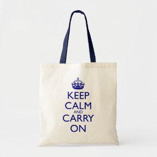 Mantenga tranquilo y continúe el texto de los azul bolsas