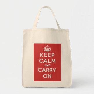 Mantenga tranquilo y continúe el tote del bolsa tela para la compra