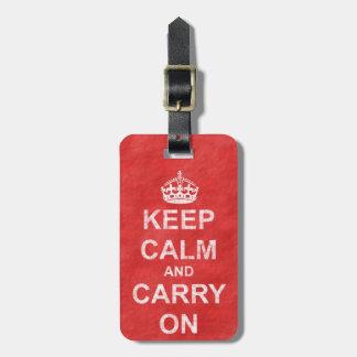Mantenga tranquilo y continúe el vintage etiquetas para maletas