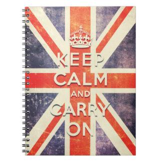 mantenga tranquilo y continúe la bandera de Union  Libro De Apuntes Con Espiral
