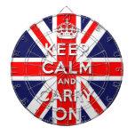 mantenga tranquilo y continúe la bandera de Union  Tablero De Dardos