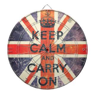 mantenga tranquilo y continúe la bandera de Union  Tablero Dardos