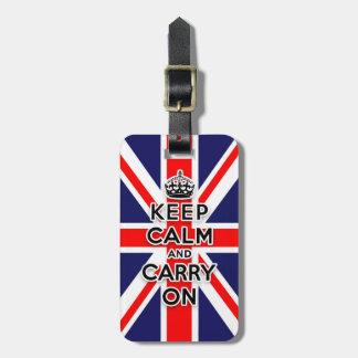 mantenga tranquilo y continúe la bandera de Union  Etiquetas Para Maletas