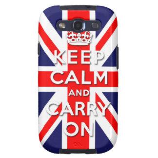 mantenga tranquilo y continúe la bandera de Union  Samsung Galaxy S3 Carcasas