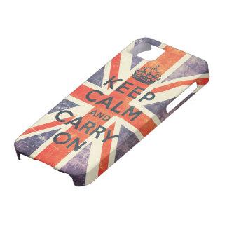 mantenga tranquilo y continúe la bandera de Union iPhone 5 Funda