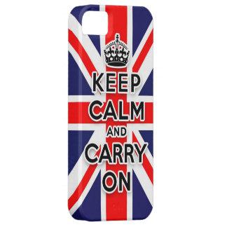 mantenga tranquilo y continúe la bandera de Union iPhone 5 Carcasa