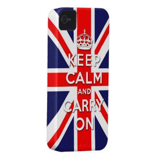 mantenga tranquilo y continúe la bandera de Union  iPhone 4 Carcasas