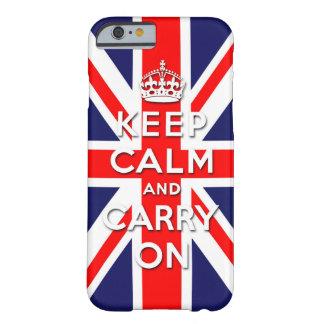 mantenga tranquilo y continúe la bandera de Union Funda De iPhone 6 Barely There