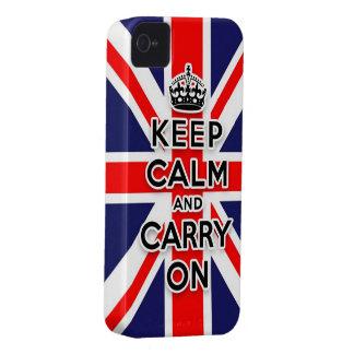 mantenga tranquilo y continúe la bandera de Union iPhone 4 Case-Mate Funda