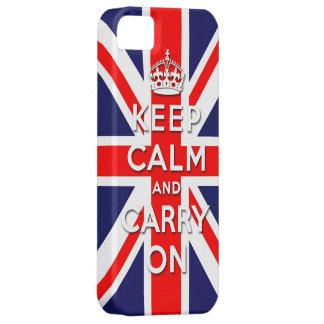 mantenga tranquilo y continúe la bandera de Union  iPhone 5 Cárcasa