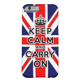 mantenga tranquilo y continúe la bandera de Union Funda Barely There iPhone 6