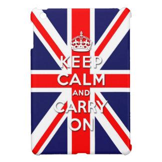 mantenga tranquilo y continúe la bandera de Union  iPad Mini Funda