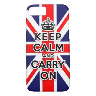 mantenga tranquilo y continúe la bandera de Union Funda iPhone 7