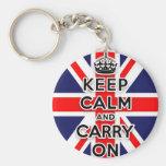 mantenga tranquilo y continúe la bandera de Union Llavero Redondo Tipo Pin