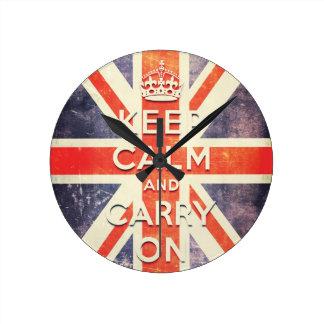 mantenga tranquilo y continúe la bandera de Union  Relojes