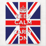 mantenga tranquilo y continúe la bandera de Union  Alfombrillas De Ratones