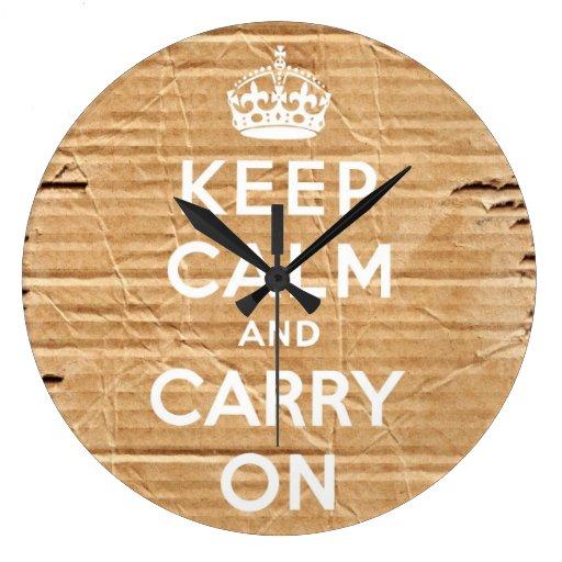mantenga tranquilo y continúe la cartulina del vin reloj redondo grande