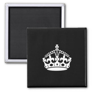 Mantenga tranquilo y continúe la corona (Editable) Imán Cuadrado