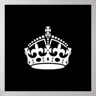 Mantenga tranquilo y continúe la corona (Editable) Posters